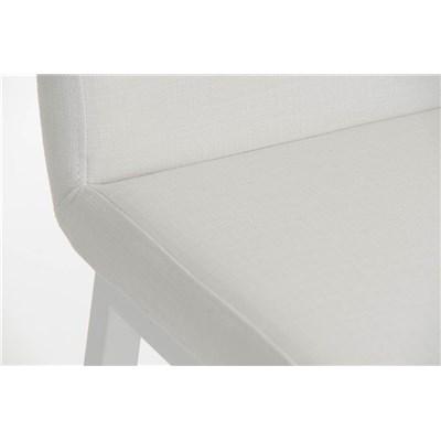 Taburete de Bar VARGAS, En Tela Blanca y Estructura Metálica en Blanco, Resistente y de Calidad
