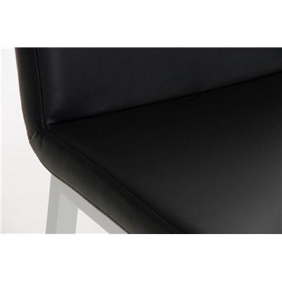 Taburete de Bar VARGAS, En Piel Negra y Estructura en Metal Blanco, Excelente Acabado