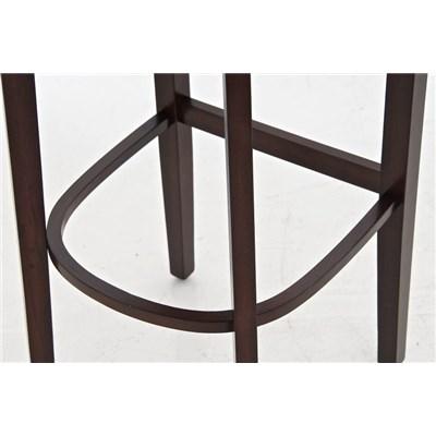 Taburete de madera MESSI, diseño clásico, asiento y respaldo acolchados en piel, color marrón oscuro