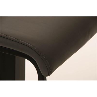 Taburete de Bar LAMA 78, estructura metálica en negro, diseño ergonómico, en piel color gris
