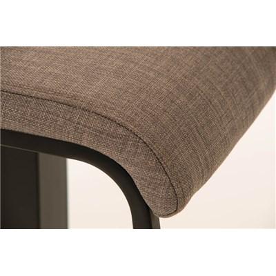 Taburete de Bar LAMA 78 Tela, estructura metálica en negro, diseño ergonómico, en tejido color Gris