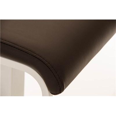 Taburete de Bar LAMA 78, estructura metálica en blanco, diseño ergonómico, en piel color Marrón