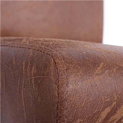Bonito Conjunto de 4 Sillas de Comedor LITAU, únicas, Piel color Marrón, patas claras