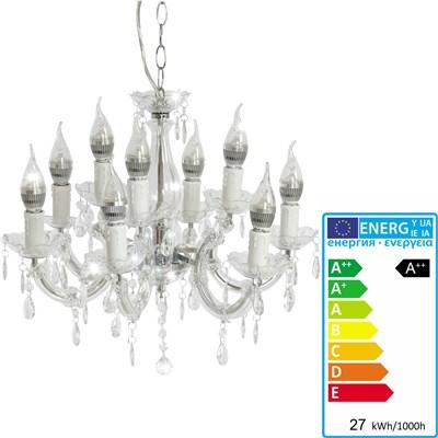 Lámpara de Araña ATENEA, 9 Puntos de Luz, Vidrio Acrílico Transparente, Bombillas LED Incluidas