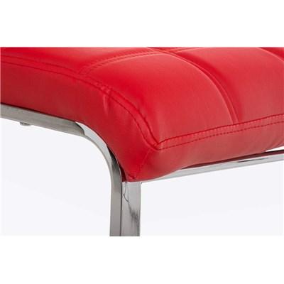 Lote 6 Sillas de Comedor o Cocina BIELSA, exclusivo diseño en costuras, en piel color rojo