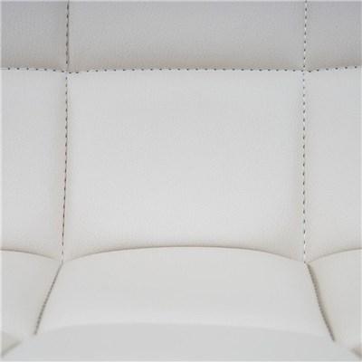 Lote 4 Sillas de Comedor o Cocina ROGER, En Piel Color Blanco, Altura Regulable, Precioso diseño con Costuras