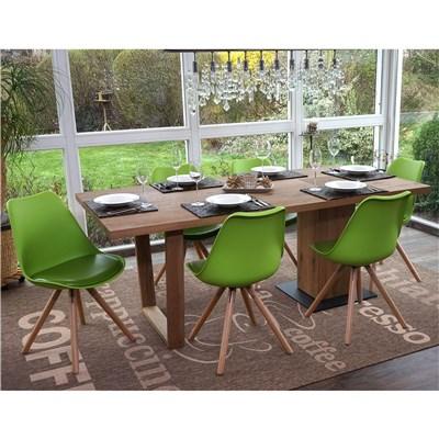 Lote 4 Sillas de Diseño CAROL, en Verde y Patas Claras, Asiento Acolchado