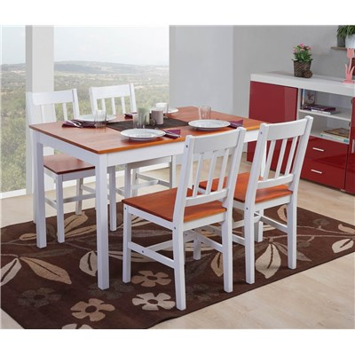 Conjunto Mesa + 4 Sillas de Cocina o Comedor NERJA , estructura de madera, en color blanco y marrón cerezo