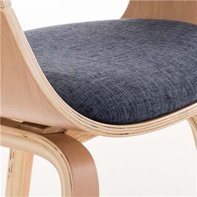 Lote de 4 sillas de Comedor BOLONIA, en Tela Azul, Estructura de Madera color Natural