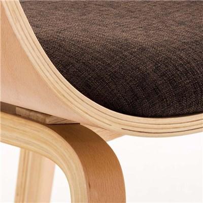 Lote de 6 sillas de Comedor BOLONIA, en Tela Marrón, Estructura de Madera color Natural