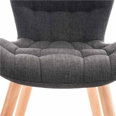 Lote de 6 sillas de Comedor PADUA, en Tela Gris Oscuro, Patas de Madera color Natural