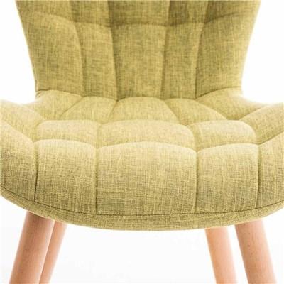 Lote de 6 sillas de Comedor PADUA, en Tela Verde, Patas de Madera color Natural