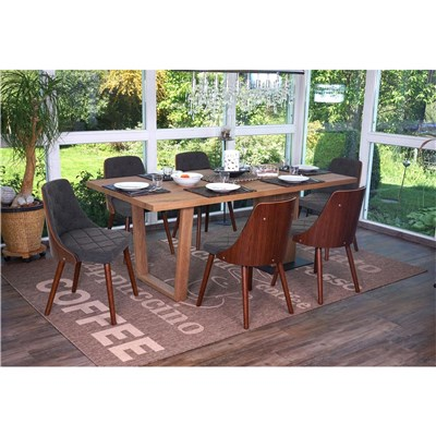 Conjunto 4 Sillas de Comedor BALEY TELA, Color Gris, Madera Maciza Color Nogal