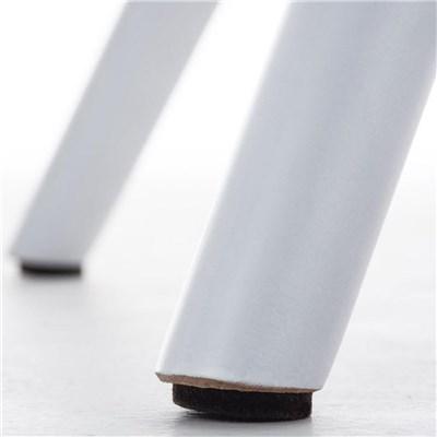 Lote de 6 Sillas de Comedor LOREN, Estructura en Plástico y Piel Gris, Patas Blancas