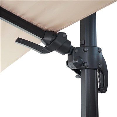 Sombrilla / Parasol POSEIDON, de 3 x 3 metros, 100% Ajustable, Cruz de suelo Incluida, en Crema