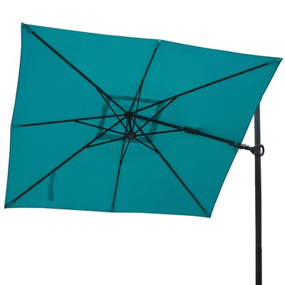 Sombrilla / Parasol TAHITI CON SOPORTE, de 3 x 3 metros, 100% Ajustable, Cruz de suelo Incluida, en Azul