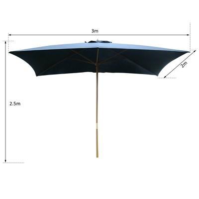 Sombrilla Rectangular GALDER, 2x3 metros, Estructura Madera, Color Negro