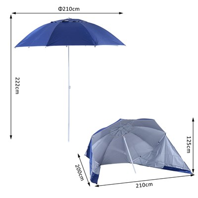 Sombrilla con Paravientos SVEN, 2,10 m de Diámetro, Estructura Metálica, color Azul