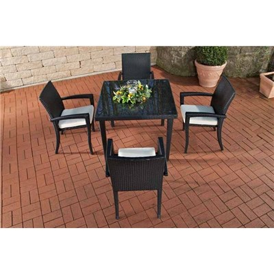 Conjunto Muebles de Jardín BARLI, en poly ratán: Mesa 90x90cm + 4 sillas, color blanco