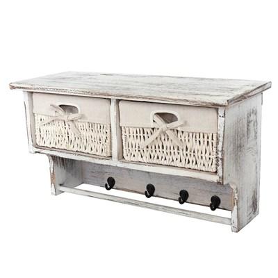 Perchero de pared con 2 cestas + mesa lateral , estilo desgastado vintage Blanco