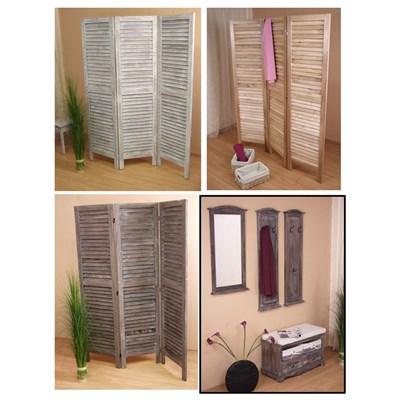 Biombo plegable dimensiones 170x276cm, 5cm de grosor, estilo clasico, color Blanco