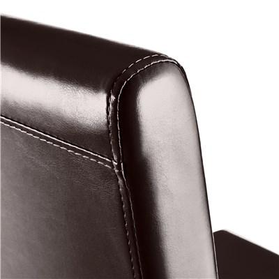 Lote 6 Sillas de Comedor LITAU, precioso diseño, Piel Marrón y patas Oscuras