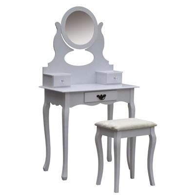 Tocador con taburete MOSEL, estilo clasico color Blanco