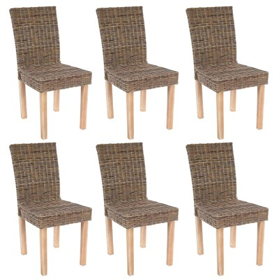 Lote 6 Sillas de Comedor LUCA, En Poly Rattan, Color Gris natural