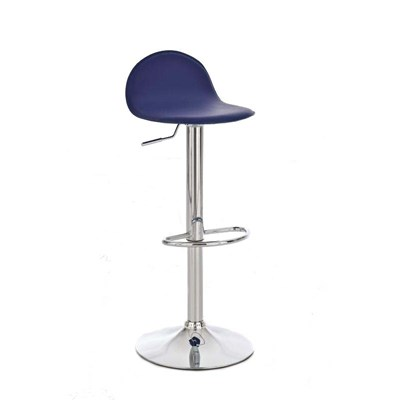 Taburete de Bar CANDELA, exclusivo diseño, ajustable en altura, en piel color azul