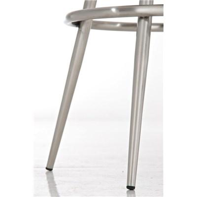 Taburete de Bar CARLOTA 80cm, en acero inoxidable, gran asiento acolchado, en piel color marrón