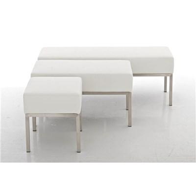 Banco de 2 plazas MARA, En Piel Blanca y Estructura de Acero Inoxidable, 80 x 40 cm