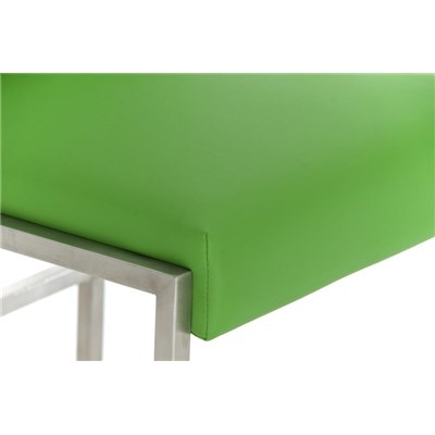 Taburete Para Barra MALAK, En Piel Verde y Estructura de Acero Inoxidable, Gran Calidad