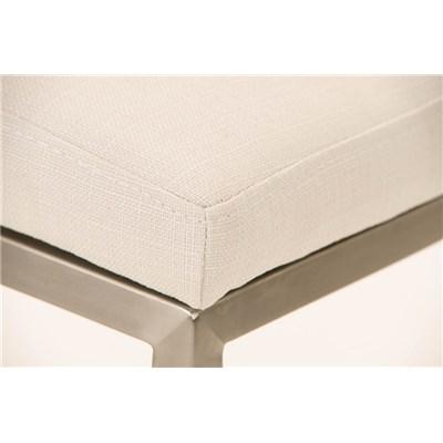 Taburete de Bar LINCON Tela, estructura de acero inoxidable, muy resistente, tapizado en tela blanco