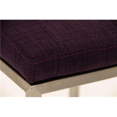 Taburete de Bar LINCON Tela, estructura de acero inoxidable, muy resistente, tapizado en tela morado