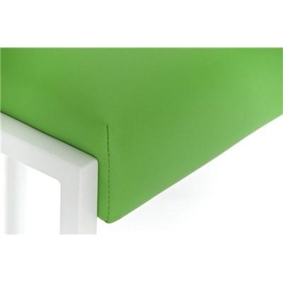 Taburete Para Barra MALAK, En Piel Verde y Estructura Metálica en Blanco, Gran Calidad