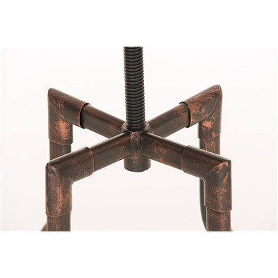 Taburete de Diseño WALTER, Estructura Metálica en Bronce y Asiento de Madera, Gran Calidad