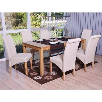 Lote 4 Sillas de Comedor TURIN, Gran estilo y calidad, tapizadas en Piel crema y patas madera claras