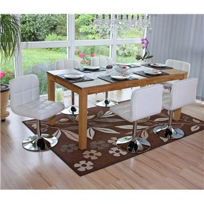Conjunto de 4 sillas de Comedor GENOVA, Giratorias, Muy cómodas, Color Blanco