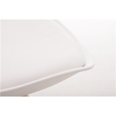 Lote 4 Sillas TAYLOR, Color Blanco, Patas de Madera Claras, Asiento en Piel, Diseño Exclusivo