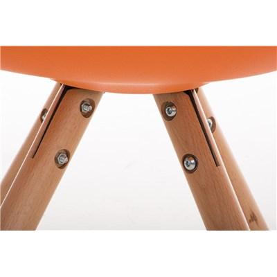 Lote 6 Sillas TAYLOR, Color Naranja, Patas de Madera Claras, Asiento en Piel, Diseño Exclusivo