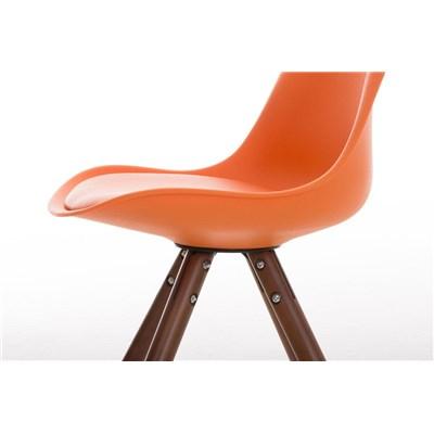 Lote 4 Sillas TAYLOR, Color Naranja, Patas de Madera Oscuras, Asiento en Piel, Diseño Exclusivo