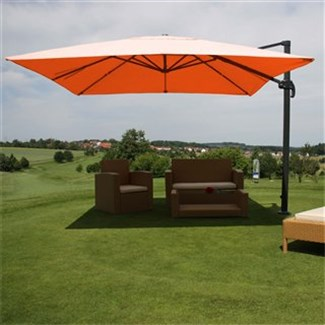 Parasol Sombrilla GIRATORIA IDRA, de 3 x 3 metros, color Terracota, Ajustable, Cruz de suelo Incluida